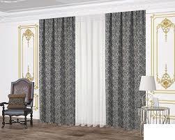 trend home collection tagesdecken und vorhang set 7 teilig schwarz grau thc 026
