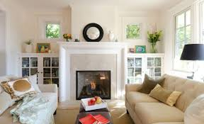 furnitures living room with modern fireplace and small bookcase