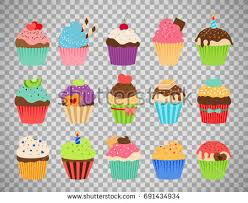 Cupcakes flat icons Delicious birthday cupcake and wedding muffin vector collection isolated on transparent background