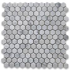 carrara white 1 inch hexagon mosaic tile polished marble from