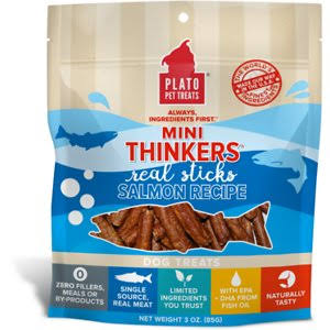 Plato Mini Thinkers Salmon Recipe Dog Treats, 3-oz Bag