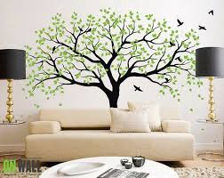 Living Room Ideas With Green Tree Wall Mural Lovely At Wallpaper