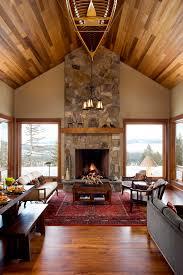 Rustic Living Rooms With Fireplaces Room Corner Windows Wood Floor