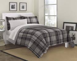 Gray Black White Plaid Masculine Bedding Teen Boy Twin Full Queen