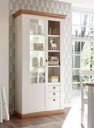 landhaus vitrine 102cm pinie weiß wotan eiche standvitrine wohnzimmer