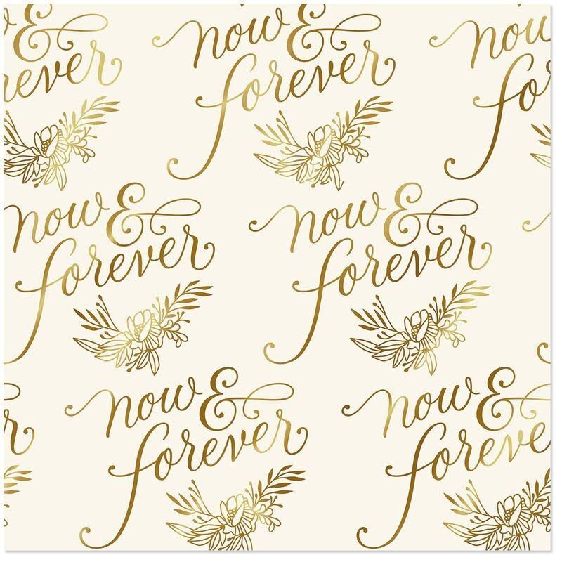 Hallmark Now and Forever Foil Wedding Wrapping Paper Roll