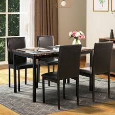 5 Piece Dining Table Set 4 Chairs Faux Marble Kitchen Room Breakfast  Furniture Round Marble Table With 4 Chairs Ldon Collection Cra Designer Ding Set Marble Top Table And Chairs In Country Ding Room Stock Photo 3piece Traditional Faux Occasional Scenic Silhouette Top Rounded Crema Grey Angelica Sm34 18 Full 17 Most Supreme And 6 Kitchen White Dn788 3ft Stools Hinreisend Measurement Tables For Arg Awesome Room Cool Design Grezu Home