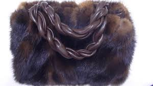 paola del lungo brown mink fur purse shoulder bag with braided