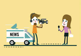 Journalist News Reporter Interview With And Interviewer Flat Character DesignVector Illustration