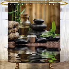 Anhounine Spa Shower Curtains Sets Bathroom Asian Zen Massage Stone