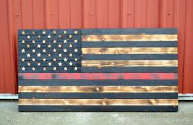 Thin Red Line Wooden Flag Firefighter Charred
