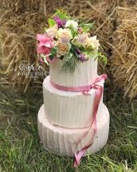 Three Tier Rustic Wedding Cake With Fresh Garden Flowers Posy Topper By White Rose Design