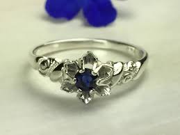 Vintage Style Engagement Ring Sapphire Anitque Birthstone