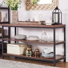 inspire q somme rustic metal frame storage sofa table tv stand by