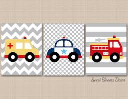 Transportation Nursery Wall Art,Rescue Vehicles Wall Art,Fire Truck ...