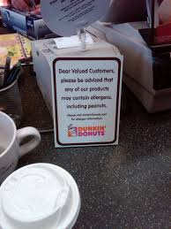Pumpkin Spice Dunkin Donuts Vegan by Dunkin U0027 Donuts Allergy Sign Creates Controversy Allergyeats