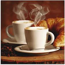 artland glasbilder wandbild glas bild einteilig 30x30 cm quadratisch kaffee coffee cafe cappuccino kaffeebohnen croissant frühstück t5xo