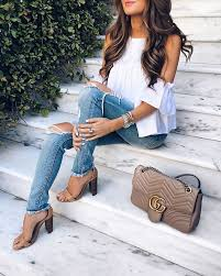 Ripped Jeans White Cold Shoulder Top Gucci Marmont Handbag