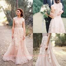 Discount Blush Pink Retro Wedding Dresses 2017 Cap Sleeve Vintage Lace Tulle Vestido De Novia A Line Country Style Bridal Gowns Custom Best Online
