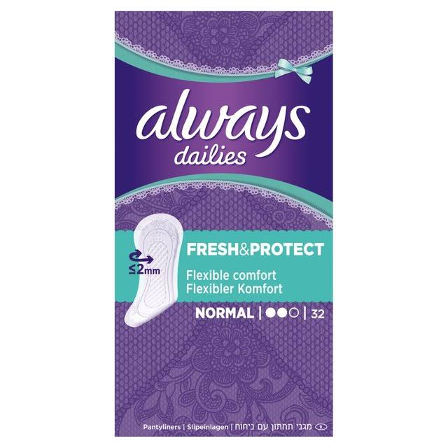 Always Dailies Fresh & Protect Panty Liners - Normal, 32 Pack