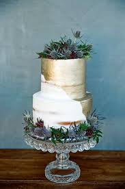 Half Naked Gold Wedding Cake