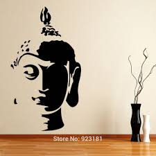 Buddha Wall Art Decor Face Silhouette Budda Corncer Painting Magnificent Details Brown Bamboo Floor Made Black