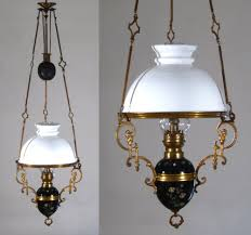Hanging Oil Lamps Ebay by Antique French Hanging Oil Lamp Weighted Chandelier Milk Glass