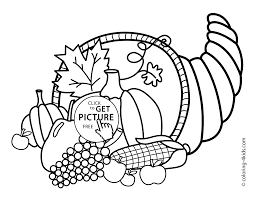Thanksgiving Day Coloring Pages For Kids Vegetables Printable Free
