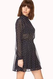 forever 21 retro polka dot dress in blue lyst