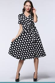 online get cheap vintage 50s 60s dress big swing polka dot