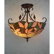 Aika 2 Light Leafy 16 Inch Tiffany Style With Crystals Ceiling Lamp