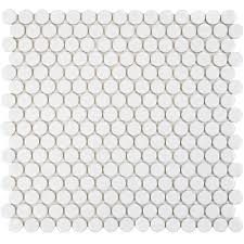 Home Depot Merola Hex Tile by Merola Tile Hudson Penny Round Glossy White 12 In X 12 5 8 In X