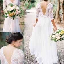 2016 lace wedding dresses bridal gowns chiffon v neck 3 4 long