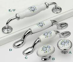 Ceramic Kitchen Cabinet Pulls Handles Knobs White Silver Blue Blossom Drawer Pull Handles Knob Porcelain Door