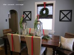 Retro Christmas Dining Table Decoration Ideas Round Green Hanging Wreath Rattan Chairs Traditional Candle Lantern Centerpieces Rectangle Wood