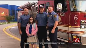 3rd Grader Wins Ride To School In Tulsa Fire Truck - News On 6