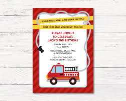 Fire Truck Invitation Fire Fighter Birthday Party Invitation | Etsy