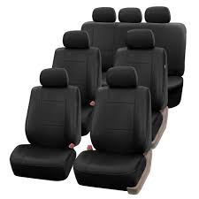 100 Truck Seat Covers BESTFH 3 Row Faux Leather Car For Auto SUV Black