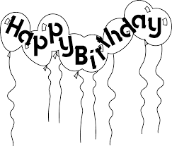 Vector and Happy Birthday Balloon Clipart Black And White 7237