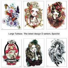 Euro American Latest Popular Large Temporary Tattoos 3D Stickers Paste For Arm Leg