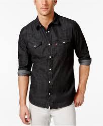 levi u0027s standard barstow western long sleeve denim shirt in black