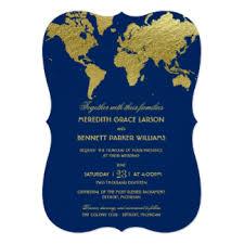 World Map Invitations Announcements