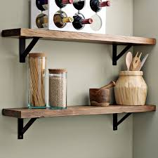 Traditional Kitchen Decor With DIY Wall Mounted Wood Shelves Rustic Teak Material