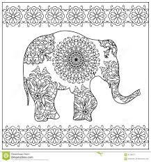 Royalty Free Illustration Download Elephant Zentangle Coloring Page