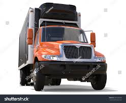 Orange Cargo Refrigerator Truck With Black Trailer - 3D Illustration ...