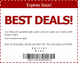 Pottery barn coupon in store more pottery barn deals