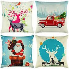 Elyhome Christmas Pillow Covers 18x18 Set of 4 Cotton Linen Burlap Throw Pillows Decorative Square Cushion