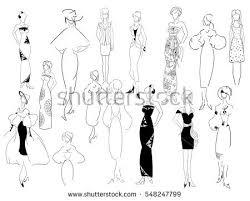 Woman In Designer Clothes Sketches Feminine Dresses Silhouettes Female Lines