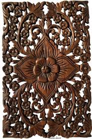 Wood Wall Decor Lotus FlowerOriental Home Decorative Panel Sculpture Teak