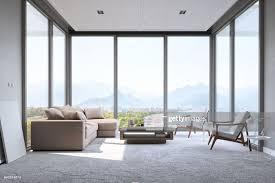 modernen minimalistischen wohnzimmer mit panorama meerblick